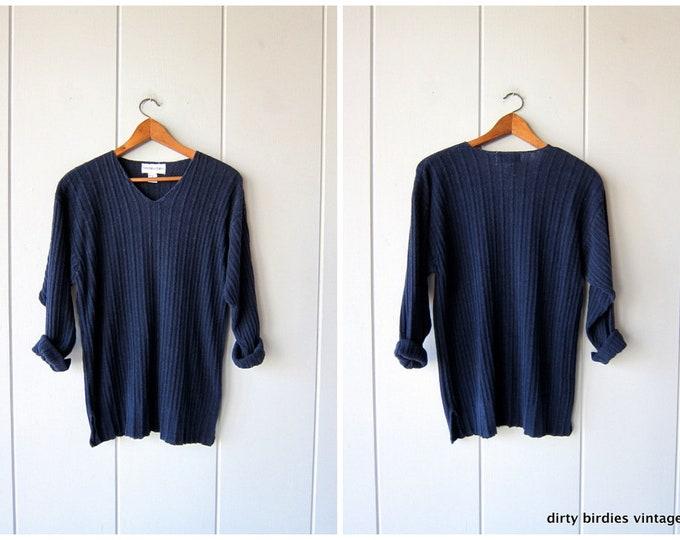 90s SILK Knit Sweater Navy Blue Thin Knit Ribbed Oversized Rib Shirt Vintage Minimal Preppy Boho Long Sleeve Slouchy Sweater Womens Small