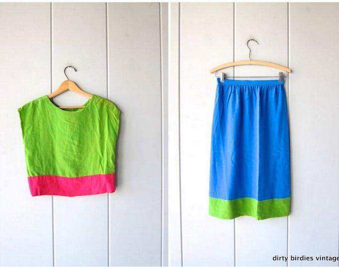 Oscar De La Renta Silk Top & Skirt Set