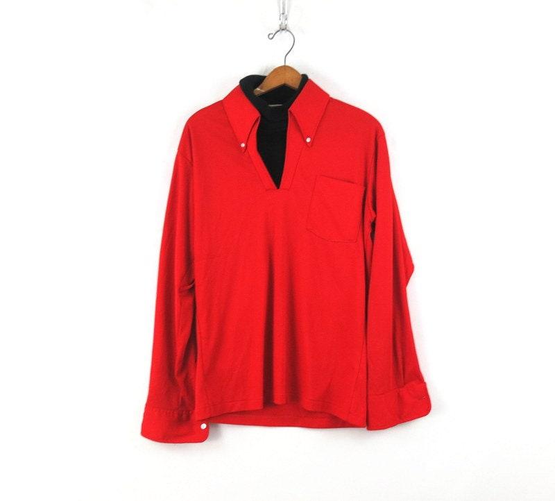 1970s Men's Shirt Styles – Vintage 70s Shirts for Guys Mens 1970S Dickie Shirt David Homisan Turtleneck Swank Pimp Retro Collar 70S Dress Size Medium $28.00 AT vintagedancer.com
