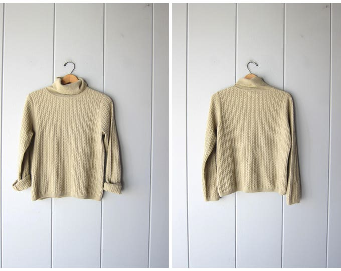 Cashmere Turtleneck Sweater Cable Knit Soft Pullover Top Thin Knit Beige Minimal Sweater Boxy Knit Top Vintage 90s Sweater Womens Medium