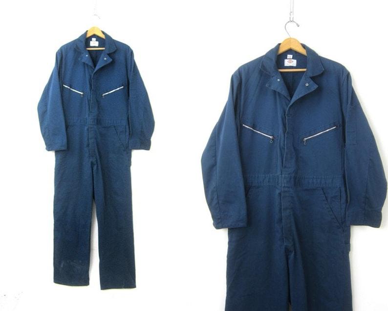eb11dae3a73 DICKIES Mechanic Coveralls Vintage Blue Jumpsuit Work Pants
