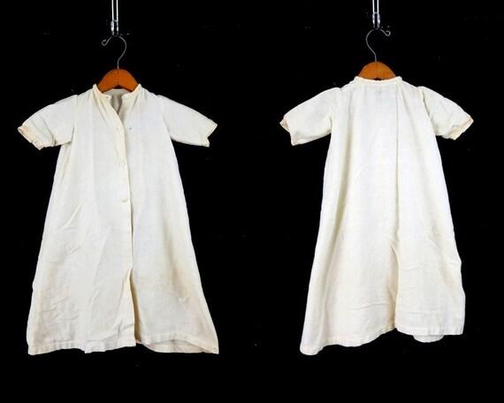 Antique Cotton Flannel night Dress White Edwardian