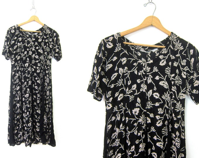 Vintage Black Floral Dress Sheer Summer Dress Flower Print Pattern Sundress Boho Chic Womens Size Medium Large