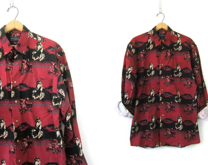 Western Horse Print Shirt Red and Black Cowboy Southwestern Rockabilly Hipster Top Vintage Men's Size Large Tall