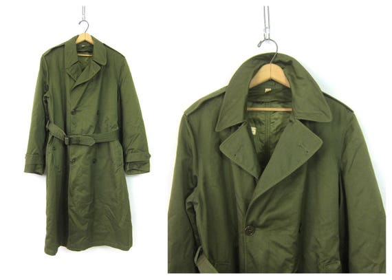 provide large selection of best collection to buy Long Green Army Trench Coat Military Issue Overcoat Commando Double  Breasted Grunge Vintage Mens Belted Trench Jacket Parka size Medium