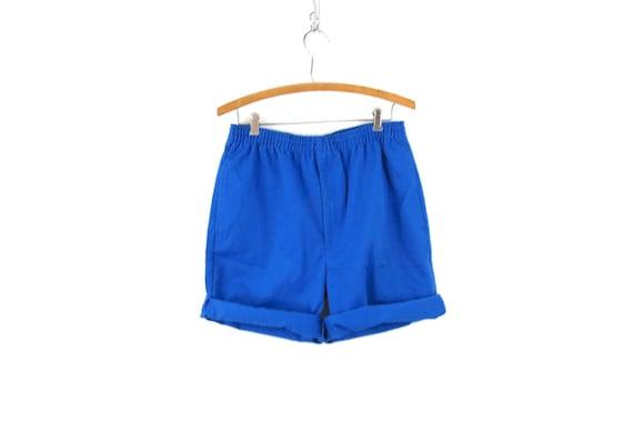 Vintage Blue 1980's Shorts Retro Elastic Waist Sh… - image 5