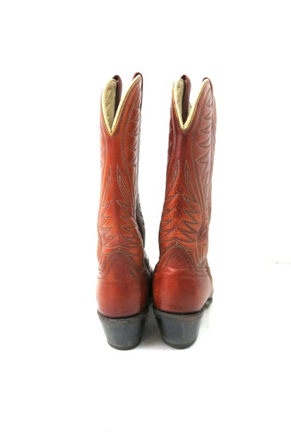 1980s Vintage Brown Leather Look Boots DINGO ACME… - image 5