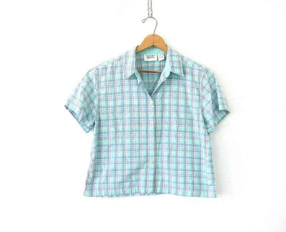8be92b269ed6c Vintage cropped Plaid shirt Top Light Green Button up Crop top