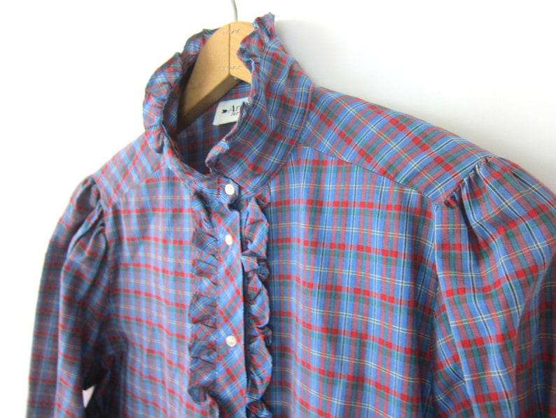 80s Puff Sleeve Blouse Vintage Plaid Pattern Poet Blouse Ruffle Bib Collar Shirt Red Blue Peasant Prairie Top Womens Large
