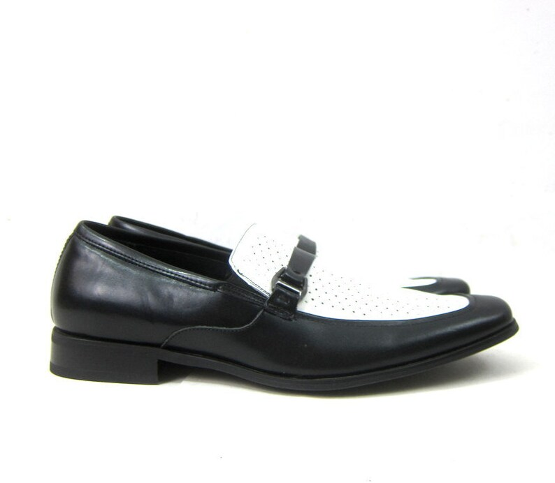 Black and White Tuxedo Shoes Leather Stacy Adams Shoes Vintage Dress Shoes Leather Loafers Men/'s Size 11