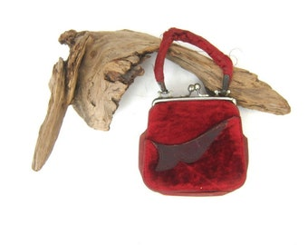 Small Red Velvet purse Vintage Pouch Bag Antique Red Purse women's Retro Hollywood Glamour Evening Bag
