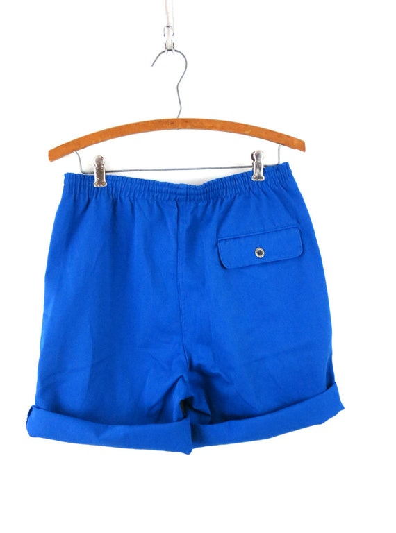 Vintage Blue 1980's Shorts Retro Elastic Waist Sh… - image 6