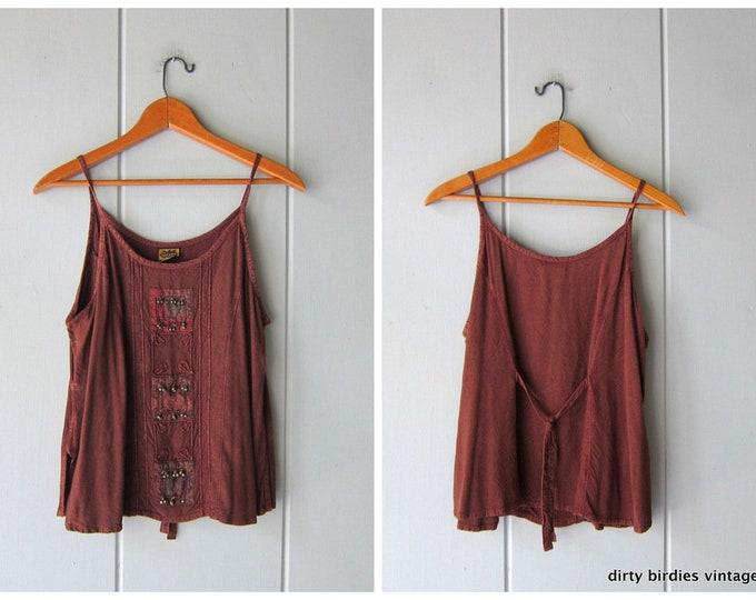 90s India Tank Top Brown Rayon Shirt Sleeveless Minimal BOHO Hippie India Embroidered Bells Top Vintage Womens Medium Small