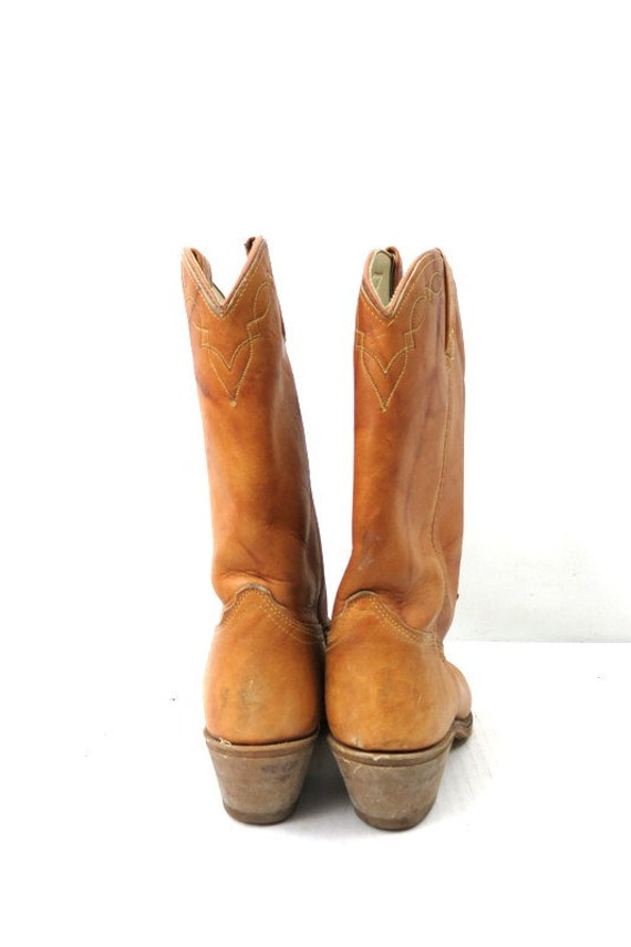 1980s Vintage Tan Leather Look Boots DINGO ACME C… - image 3