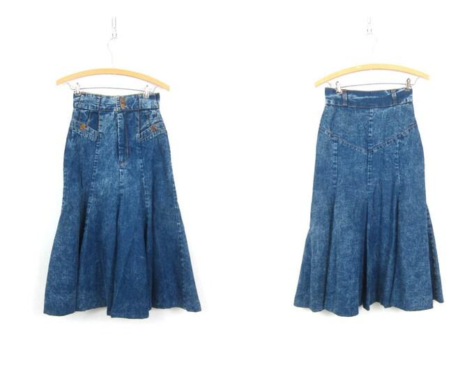 "Vintage 80s Jean Skirt High Waist Stonewash Skirt Western Long Denim Tulip Skirt Streetwear Pioneer Urban Hipster Womens XS Small 24"" Waist"