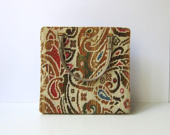 60s Floral Carpet Bag Large Square Mid Century Vintage Mod Indie Tapestry Purse Hipster Mad Men Shoulder Bag Retro 1960s