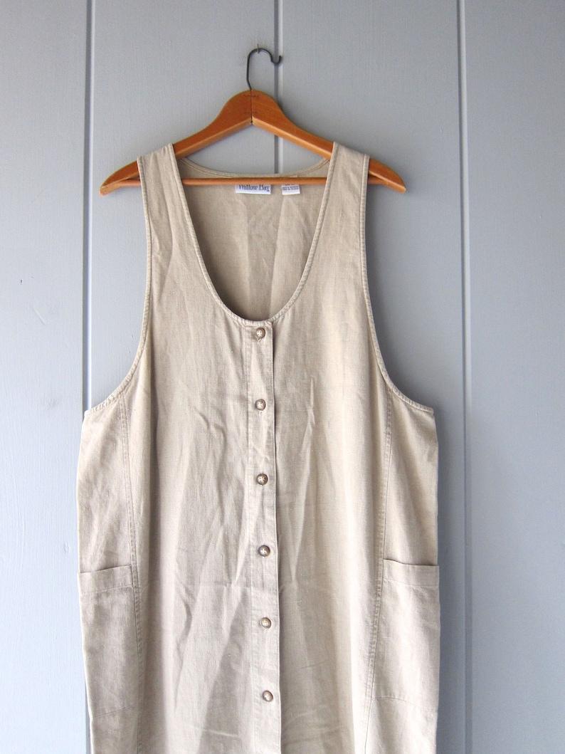 75e27d6c08 90s Minimal LINEN Dress Beige Minimal Dress Vintage Loose Fit