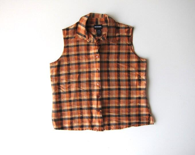 90s Silk Sleeveless Blouse Collared Tank Top Button Up Checkered Blouse Minimal Orange Casual Preppy Modern Shirt Vintage Womens Medium