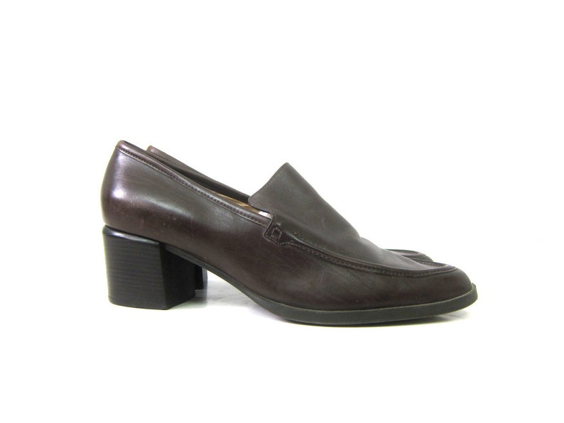 e77973a7eb0f1 90s Vintage Chocolate Brown Leather Shoes Chunky stacked Heels Slip on  Modern Loafer Shoes Preppy Enzo Angiolini Womens Shoes Size 10