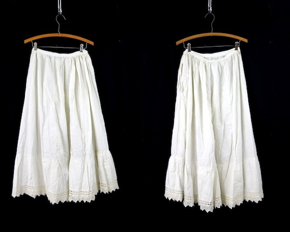 Antique Cotton Slip Skirt White Edwardian Long Max