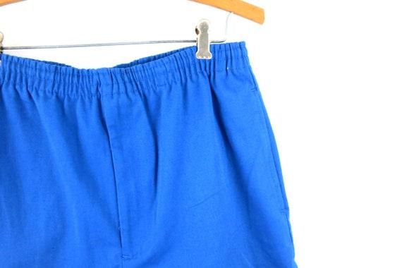 Vintage Blue 1980's Shorts Retro Elastic Waist Sh… - image 4