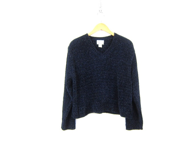 90s Cropped Fuzzy Knit Sweater Navy Blue Pullover VNeck Sweater Crop Preppy Sweater Women's Size Large XL