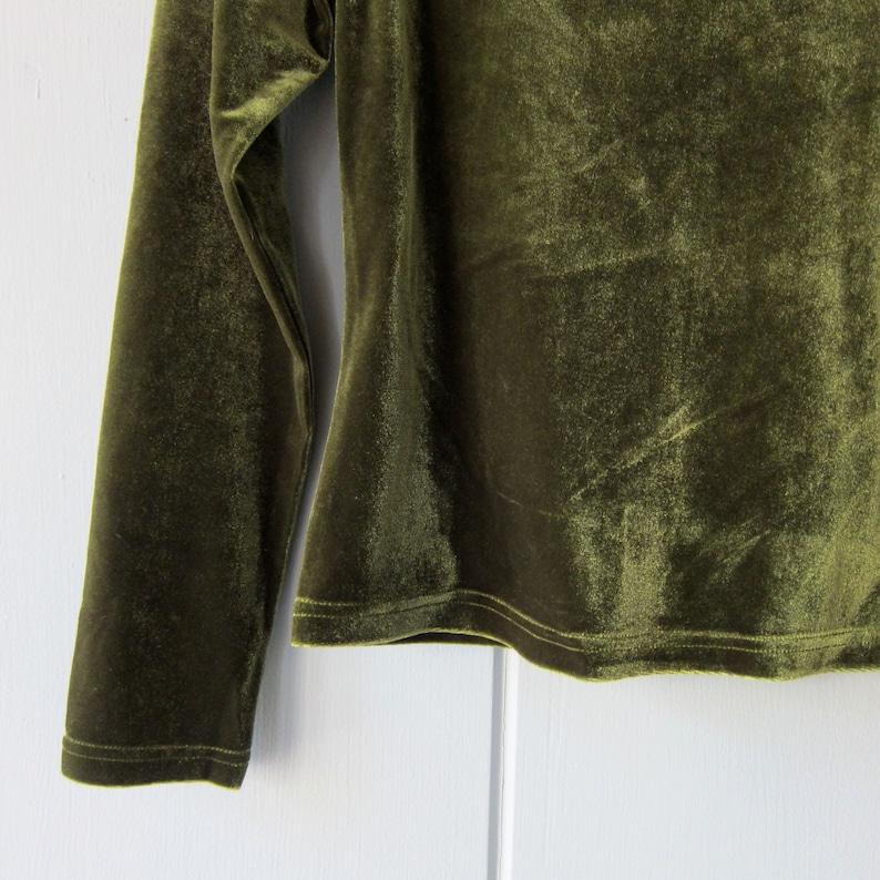 0c35341fc2887 Green Velvet Top 90s Soft Plush Knit Velvet Shirt Cropped