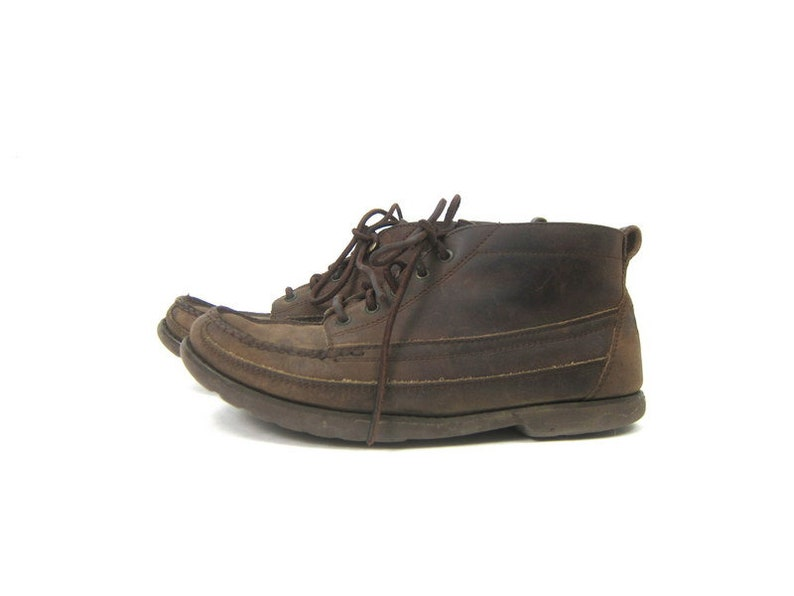 4a7a8bacc2b4c vintage 90s Rockport Leather boots lace up Booties Brown Shoes Moc Toe  Ankle Boots Moccasins women's shoes size 8