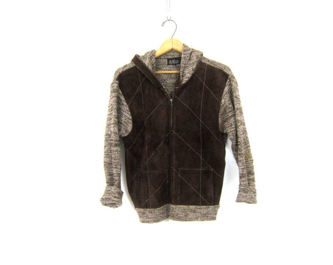Brown 1970s patchwork suede sweater Cardigan Zipper Sweater with Hood Hooded Sweater Jacket Retro Hipster Knitivo Sportswear Medium Large