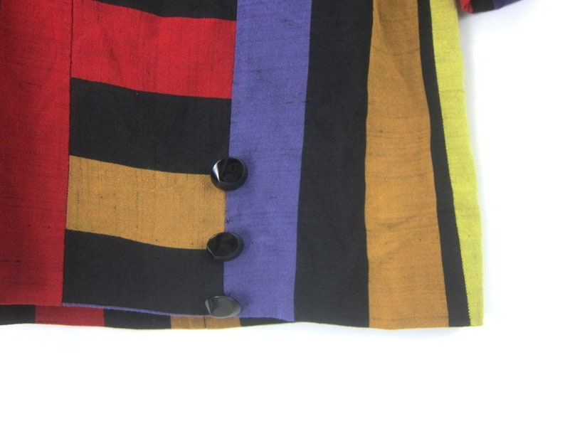 Striped Tunic Top Half Sleeve Shirt Boxy Color Block 90s Vintage Blouse Womens Size 8 Small Medium