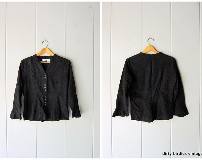 Minimal 90s Button Up Shirt Cropped Black Cotton Oxford Blouse Modern Quarter Bell Sleeve Collared Embroidered Shirt Vintage Womens Medium
