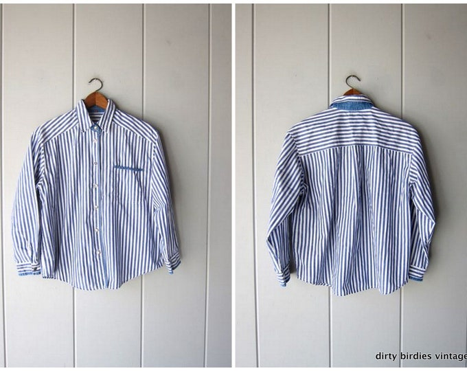 90s Striped Shirt Button Up White Blue Oxford Shirt Preppy Cotton Shirt Minimal Casual Vintage Long Sleeve Office Shirt Womens Large