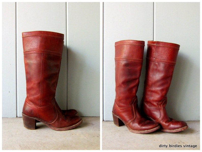 f8dbc405d5939 Brown Leather Frye Boots 80s Tall Cowgirl Boots Pull Up Womens Cowboy Boots  Hipster Vintage Fryes Stacked Heels Boho Boots Womens 9.5 USA