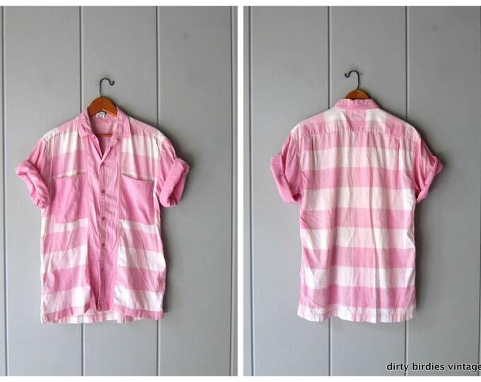 Pink White Striped Shirt Button Up Oxford Preppy 80s Shirt Retro Plaid Vintage Short Sleeve Top Tee Womens Medium