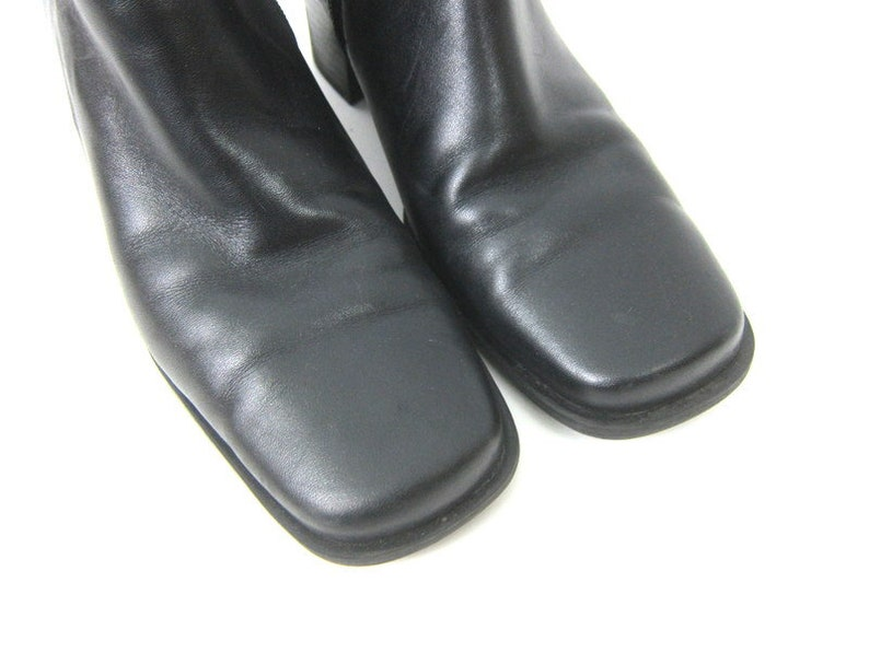 Black Leather Boots vintage 90s Ankle boots high heel boots Side Zipper fashion boots Womens Shoes Size 7.5