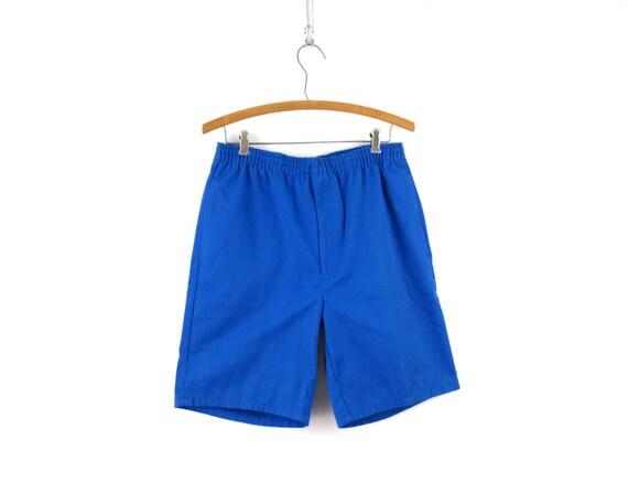 Vintage Blue 1980's Shorts Retro Elastic Waist Sh… - image 1