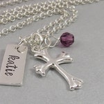 Hand Stamped First Communion Necklace in Sterling Silver with Flared Cross and Swarovski Crystal Birthstone. Gift for Baptism, Confirmation