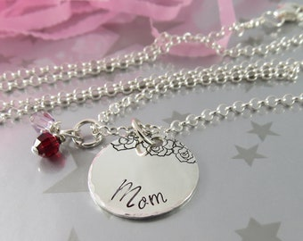 Gift for Mom. Hand Stamped Sterling Silver Necklace with Personalized Swarovski Crystal Birthstones. Jewellery for Mommy, Mummy, Mother.