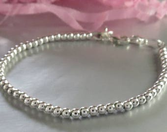 Sterling Silver Bead Adjustable Layering Skinny Bracelet. Personalized Hand Stamped Initial Charm. Customized Stacking Jewelry. Dainty