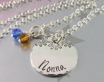 Hand Stamped Nonna Necklace with Daisies and Personalized Swarovski Crystal Birthstones. Personalized Jewellery for your Grandmother