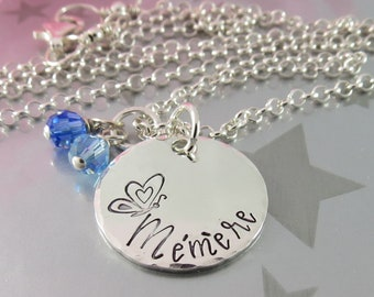 Gift for Mémère. Hand Stamped Sterling Silver Necklace with Personalized Swarovski Crystal Birthstones. Jewellery for your Granny, Nanny
