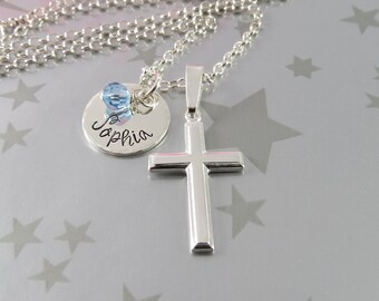 Personalized First Communion Jewelry in Sterling Silver with Hand Stamped Name and Birthstone of Swarovski Crystal. Gift for Goddaughter.