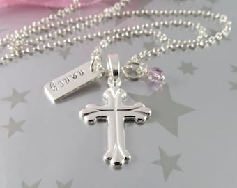 First Holy Communion Cross Necklace with Hand Stamped Personalized Name Charm in Sterling Silver with Swarovski Crystal Birth Stone.