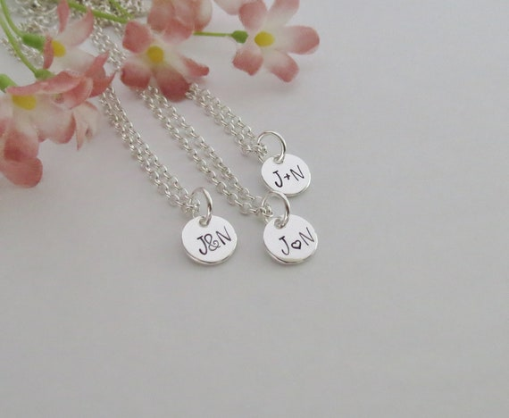 Sterling Silver Mini Round Initial Charm Letter I Hand Stamped Pendant With 16 Silver Bead Chain