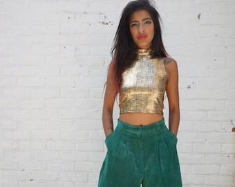 1980s Shorts Vintage Green Suede Leather Bermudas