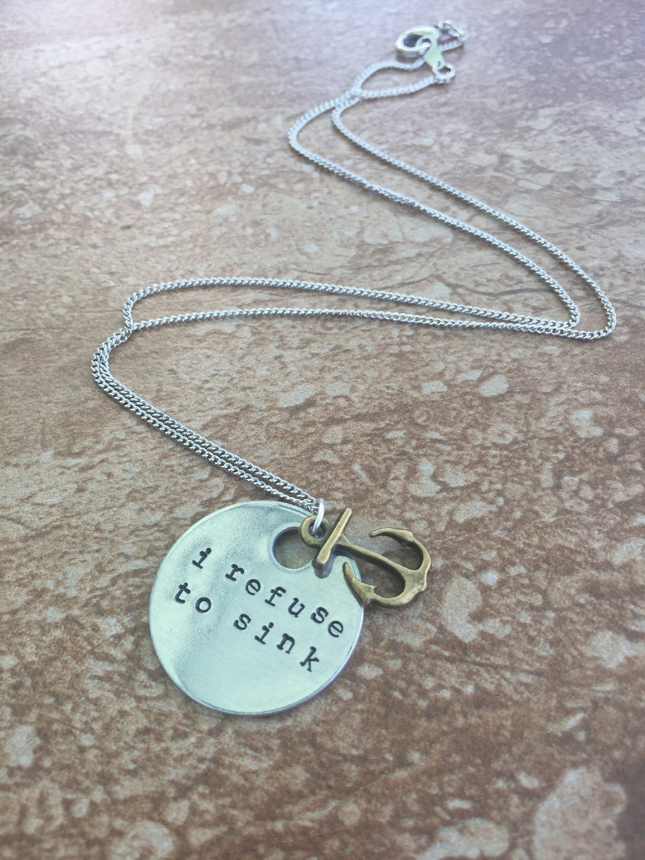 I Refuse To Sink Hand Stamped Necklace Or Key Chain Etsy