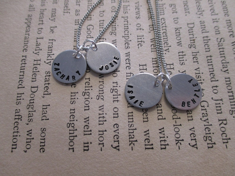 Tiny Disc Name Necklace with Birthstone Crystals The Tracie Necklace