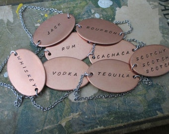 Custom Copper Hand Stamped Decanter Bottle Tag