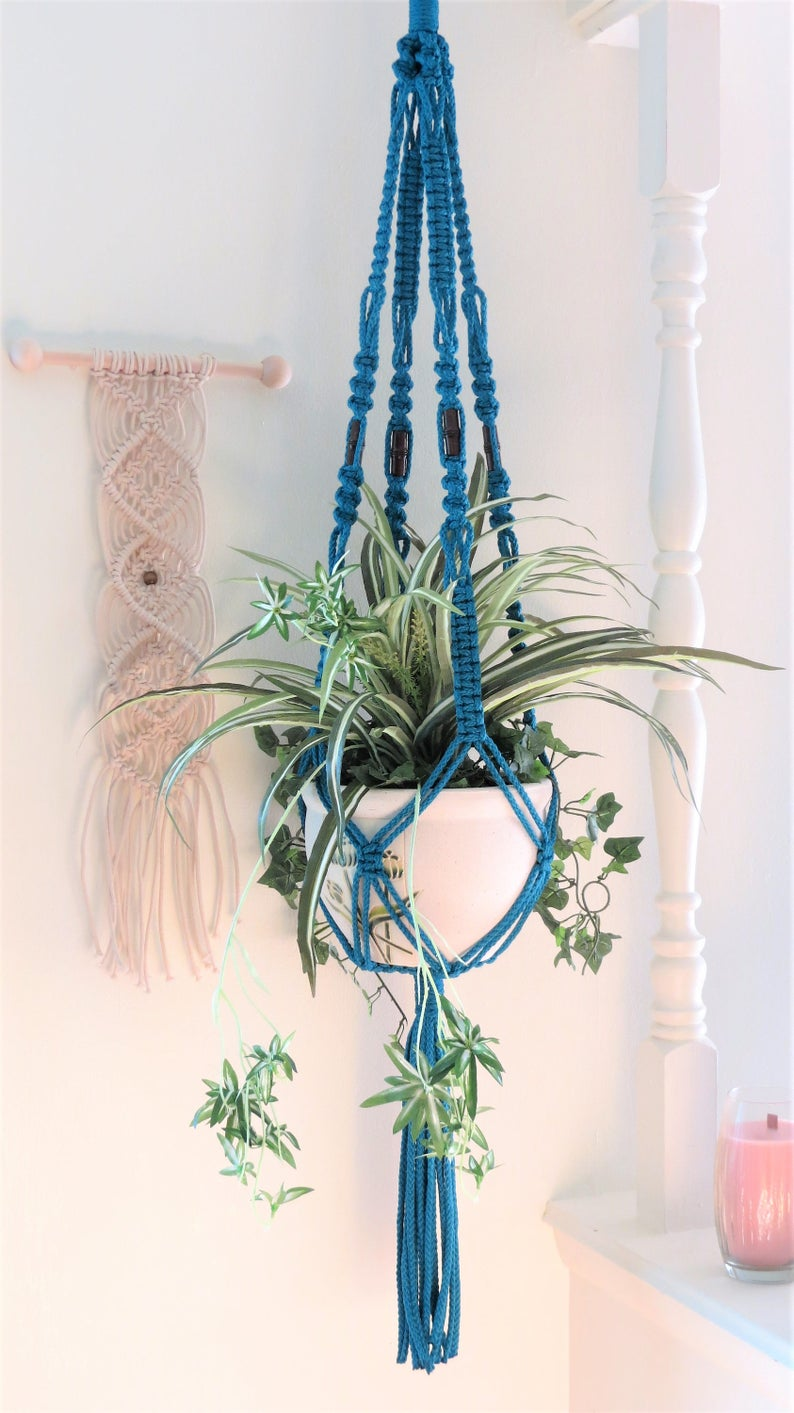 Blue Macrame Plant Hanger Blue Planter Blue Pot Holder Etsy