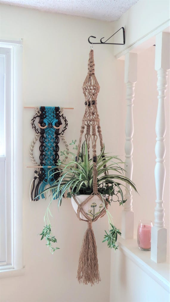 Macrame Plant Hanger 6ply NATURAL JUTE 44 inch with BEADS